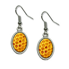 Honeycomb Honey Comb - Bee - Novelty Dangling Drop Oval Charm Earrings