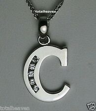 "Initial ""C"" 14K White Gold Pendant 7/8"" BIG 1.2g GORGES"