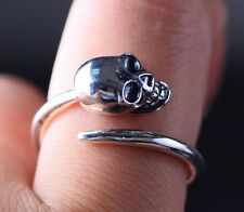 skull  925 Sterling Silver men  women ring rings jewelry adjustable S436