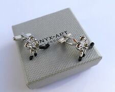 """""""ICE HOCKEY PLAYER""""-Silver Style (with BLACK STICK) METAL Cuff Links in GIFT BOX"""