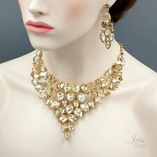 Gorgeous Gold GP Topaz Crystal Drop Necklace Earrings Wedding Jewelry Set 04193