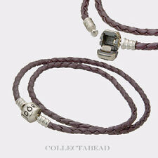"Pandora Sterling Silver Double Purple Leather Cord 15.0"" Bracelet 590705CPE"
