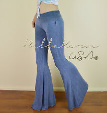 DENIM FLARE Long Bell Bottoms STRETCH Fold Waist  BOHO YOGA Lounge Dance PANTS M