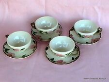 Franciscan Desert Rose 4 Cups/Saucers Cream Pink Roses Green Leaves USA (P)