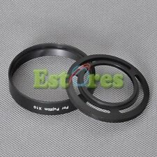 BLACK Metal Adapter Ring + Lens Hood for Fujifilm Fuji X10 replace LH-X10