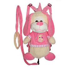 "Backpack 14"" Harness Leash 3-in-1 Plush Puppy Dog Pink Beige New"
