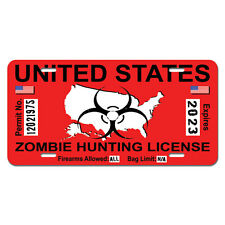 Zombie Hunting Permit Red United States - Biohazard Response Team License Plate