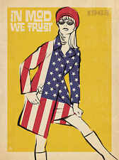 In Mod We Trust Anderson Design Vintage USA Flags Fashion Print Poster 18x24