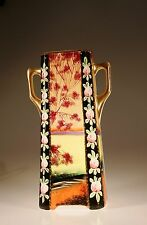 Royal Nippon Nishik Handpainted Scenic Square  Footed Tall Vase, Japan
