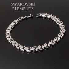 Gourmette bracelet jonc maillons Swarovski® Elements plaqué or blanc luxe