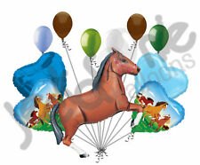 11 pc Brown Wild Horse Balloon Bouquet Decor Happy Birthday Playing Pony Girl
