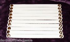 "#BRT10w~LOT OF (10) 1/2"" WHITE  LEATHER  BRACELETS - WITH SNAP"