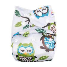Alva Baby Owl Print Onesize Washable Reusable Cloth Pocket Diaper Nappy+1Insert