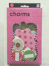New CHIPBOARD EMBELLISHMENTS - 47x CHARMS SHAPES - hearts, flowers, tags, etc