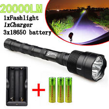 TrustFire 20000Lm 3X CREE XM-L T6 LED 5 Modes Flashlight+Charger+3X18650 Battery