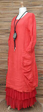 LAGENLOOK HEAVY LINEN AMAZING QUIRKY 2 POCKETS LONG DRESS*RED*BUST UP TO 40""
