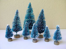 Set of 8 Mini Green Sisal Bottle Brush CHRISTMAS TREES ~ Snow Frost Village Putz