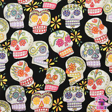 140101139 - Alexander Henry Glitter Calaveras Skull Black Day of the Dead BTY