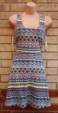 PRIMARK MULTI WHITE PINK GREEN TRIBAL AZTEC ETHNIC SKATER FLIPPY A LINE DRESS L