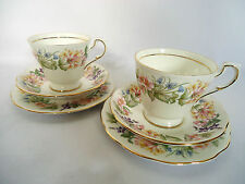 """Pair of Royal Albert Paragon """"Country Lane"""" Fine Bone China Cup and Saucer Trios"""