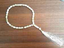 US SELLER WHITE & GOLD Islamic Muslim 33 Prayer Beads Tasbih Tasbeeh Zikr Misbah