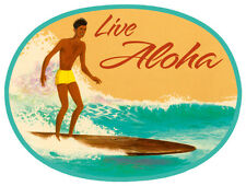 Car Window Bumper Sticker - Hawaiian Art Decal - Live Aloha Surfer