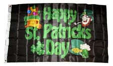3x5 Happy St. Patty's Patricks Day Flag 3'x5' Black Ireland Beer house banner