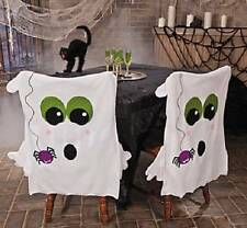 "Halloween Ghost Dining Kitchen Chair Cover w/ Spider Accent Decoration 2-PC 30""H"