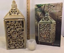 Natural Ceramic Lantern Pierced Lattice Design W/Votive Candle By Endless Light
