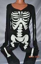 Victorias Secret Pink Glow In Dark Skeleton Onesie Thermal Pajamas NWT S