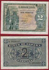 ESPAÑA 2 PESETAS año 1937. Serie A. Nº 3058227. Catedral de Burgos. RARO.