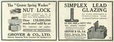 1926 Grove And Co Britannia Engineering Works Washers Glazing Old Advert