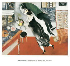 MODERN ART PRINT - Birthday by Marc Chagall 30x32 Offset Lithograph MOMA Poster