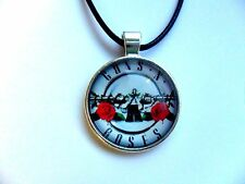 Great GUNS N ROSES Glass Dome  Pendant and Leather Necklace