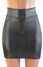 LARGE Starry Silver Metallic Spandex Stretchy Bodycon Mini Skirt Ready To Ship!