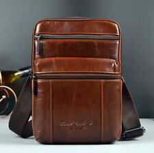 Oil Wax Leather Sling Chest Back Pack Cross Body Messenger Shoulder Bag Brown