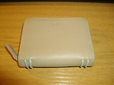 TULA ~ BEIGE LEATHER PURSE WITH MINT GREEN TRIM