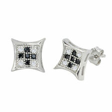 Sterling Silver Micropave Stud Earrings Black and White Kite Shaped 8mm x 8mm