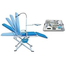 Dental Portable Folding Chair Mobile Unit Blue + High Low Speed Handpiece Kit 4H