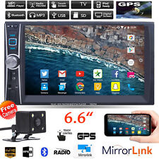"Car Stereo Radio MP3 MP5 Player 6.6"" 2 DIN Bluetooth Touch FM USB TF AUX +Camera"