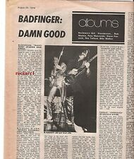 BADFINGER album review 1974 UK ARTICLE / clipping