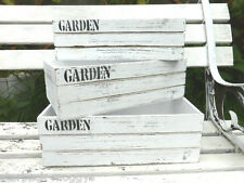 3 VINTAGE WOODEN STORAGE CRATES SHABBY CHIC BOXES PAINTED WHITE WOOD HOME DECOR