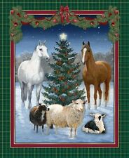 Christmas Tree Horse Sheep Winter Scenic Cotton Fabric CP47283 The Gift PANEL