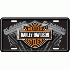 HARLEY DAVIDSON V-TWIN MOTORCYCLE LOGO BLACK CAR METAL LICENSE PLATE MADE USA