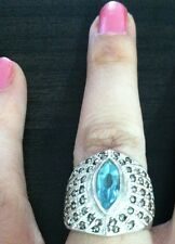 Sterling Silver 925 Ring With Sky Blue Stone & Marcasite ..9.8 G .Size 6.25