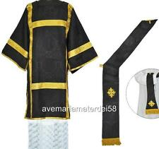 Black Requiem Deacon Dalmatic Vestment Set + Stole & Maniple S,M,L,Regular Sizes