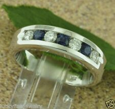 1.00 CT MENS men's DIAMOND & SAPPHIRE RING WHITE GOLD 14k made in USA  anysize