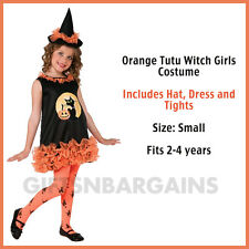 Orange Tutu Witch Costume Dress+Hat & Tights Girls Childs Halloween S:Small 2-4y