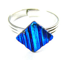 "Dichroic Glass Ring Adjustable Tiny 1/4"" 7mm Medium Blue Teal Ripple Texture"