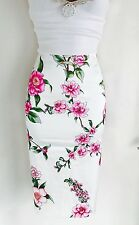 Stunning & Rare ESCADA White Floral Satin Wiggle Pencil Skirt Size 36/ Uk 8-10